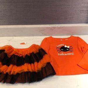 Girls Gymboree Halloween shirt skirt outfit 4t EUC